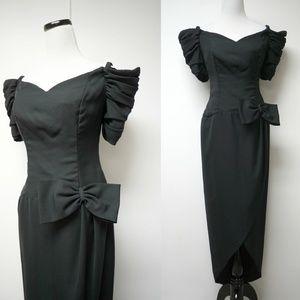 Dresses & Skirts - off shoulder overlap long torso black dress